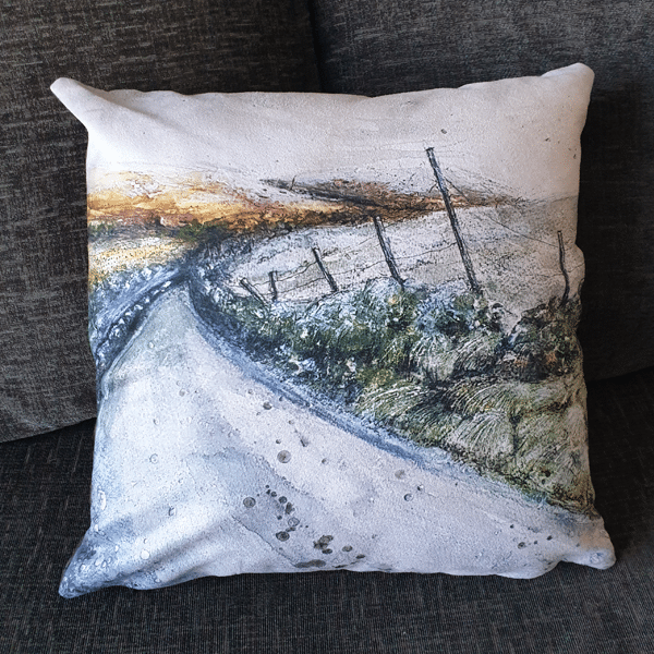 Frost Moorlands Cushion by Sarah Rowley from Roaonokeart.co .uk