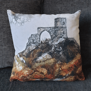 Mow Cop Castle Cushion by Sarah Rowley from Roaonokeart.co .uk