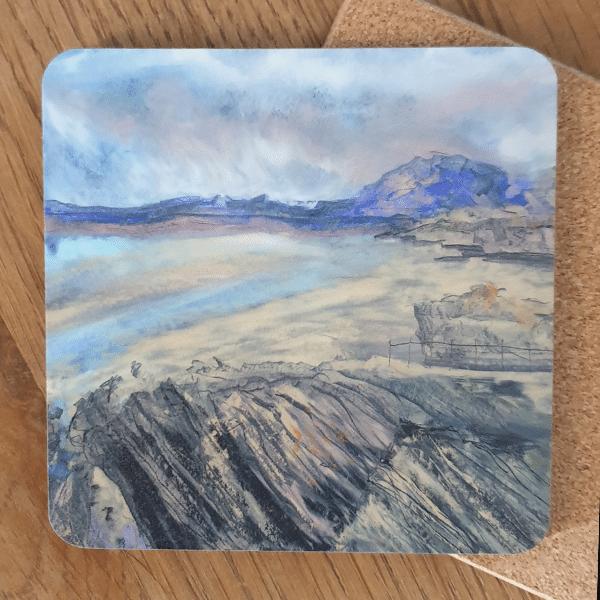 Purple Beach Coasters by Sarah Rowley from Roaonokeart.co .uk
