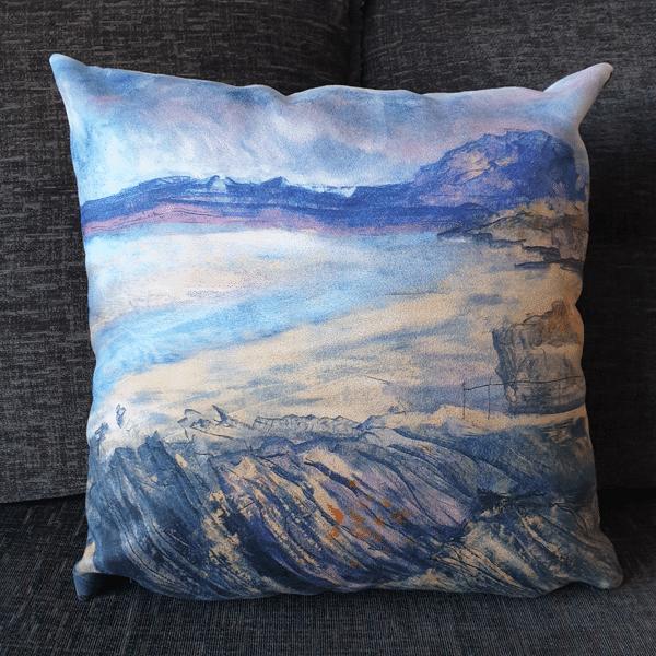 Purple Beach Cushion by Sarah Rowley from Roaonokeart.co .uk