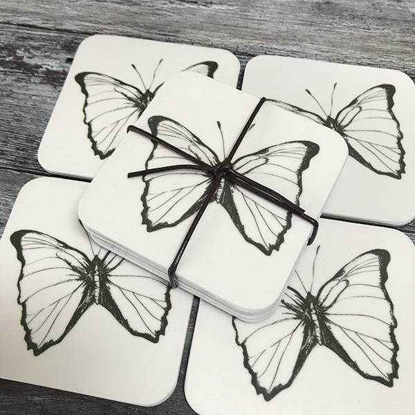 single butterfly coaster set