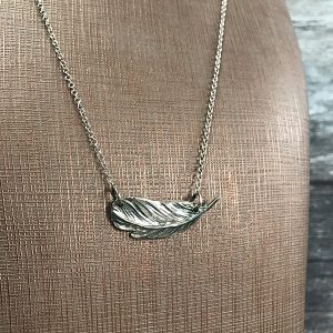 68 Large sideways feather Necklace close up