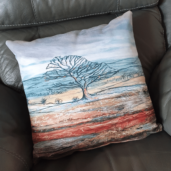 Staffs Tree Cushion by Sarah Rowley from Roaonokeart.co .uk
