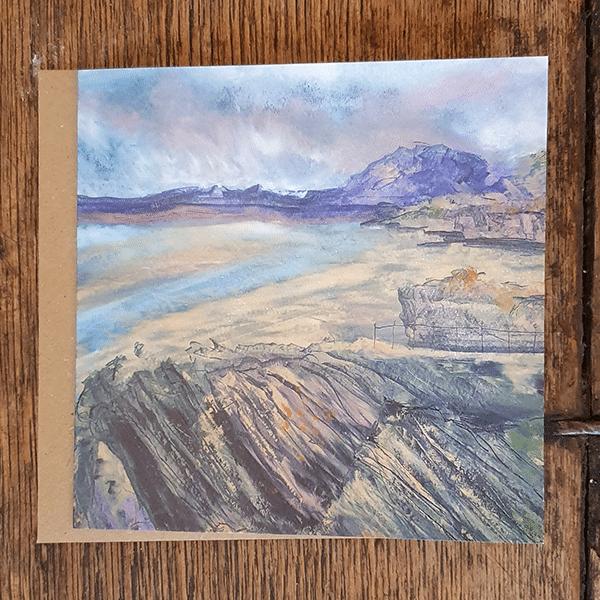 Purple Beach card by Sarah Rowley