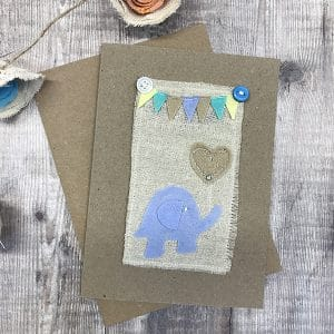 Card blue elephant