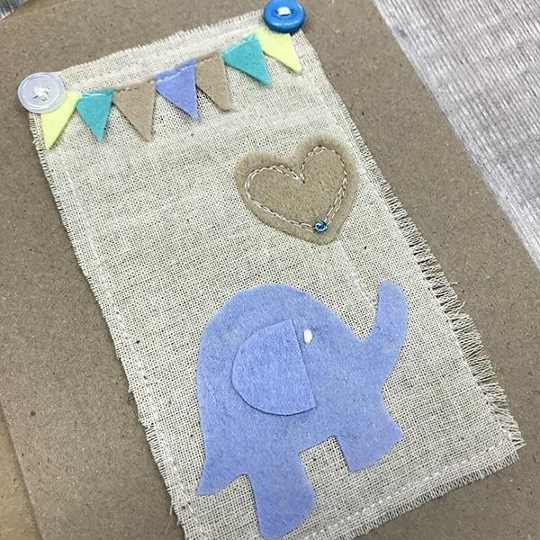Card blue elephant close up