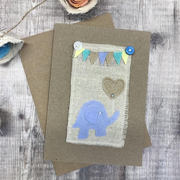 Card blue elephant
