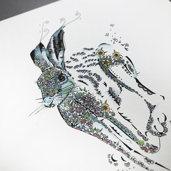 Running hare close up