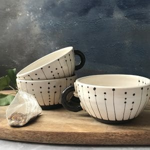 Seed black and white teacup