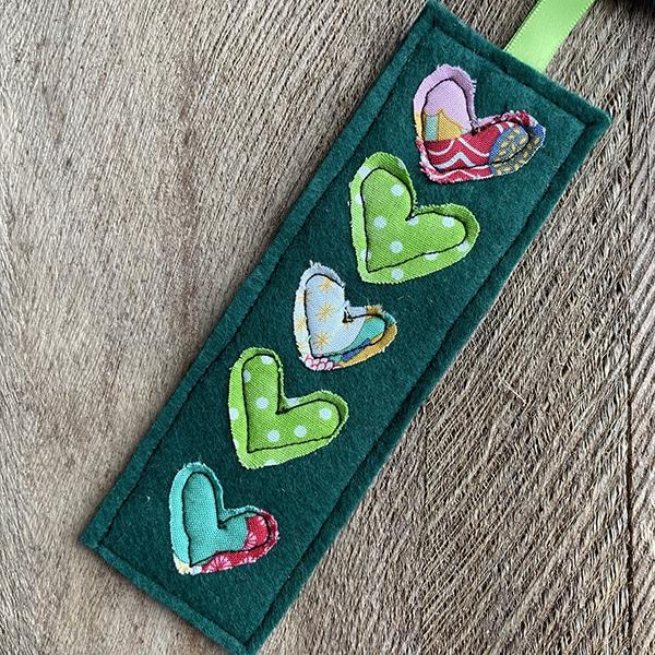 Green heart bookmark